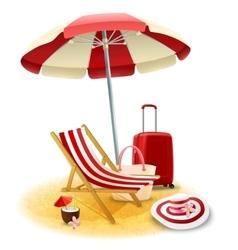 Beach Deck Chair And Umbrella vector image vector image