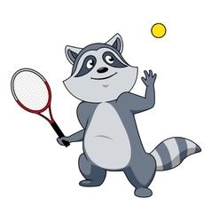 Cartoon raccoon tennis player character vector image