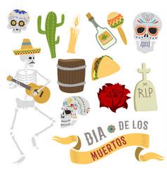 dia de los muertos mexica dead day celebration vector image vector image