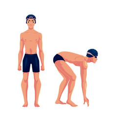 male swimmer in swimming suit cap standing and vector image vector image