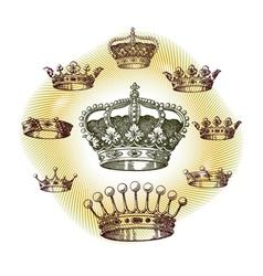 old crown set vector image
