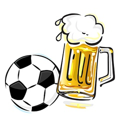soccer ball and beer vector image
