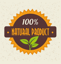 100 percent natural design vector image