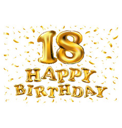 18th birthday celebration with gold balloons vector