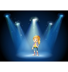 A girl under the spotlights vector