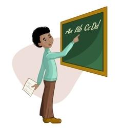 African american schoolboy at blackboard vector image