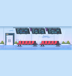 Airport terminal interior departure waiting room vector
