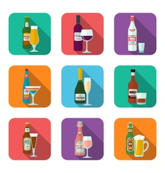 alcohol bottles and glasses icons set vector image