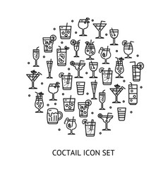 alcohol cocktail round design template black thin vector image