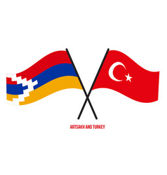 Artsakh and turkey flags crossed and waving flat vector