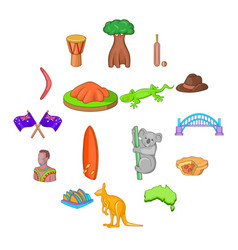 australia travel icons set cartoon style vector image