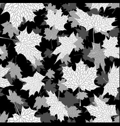 Autumn maple leaves seamless black and white vector