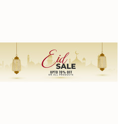 Awesome eid sale banner with hanging lanterns vector