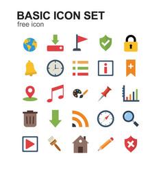 basic coloured icons set vector image
