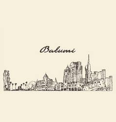 Batumi skyline georgia hand drawn sketch vector