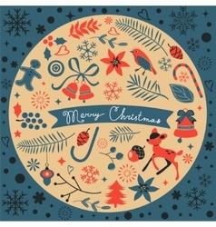 Beautiful Christmas round composition vector