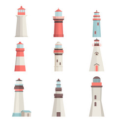 big set cartoon flat lighthouses isolated on white vector image