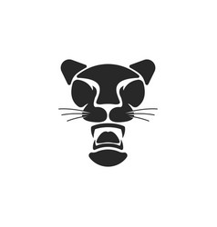 black panther logo big cat head with open mouth vector image