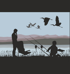 boys on fish and herons vector image