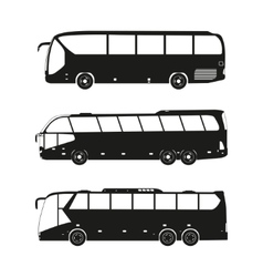 Bus black silhouettes on a white background vector
