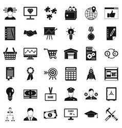 Business worker icons set simple style vector