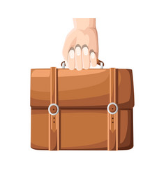 businessman hand holding briefcase with corporate vector image