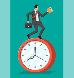 businessman is fast running on big clock vector image