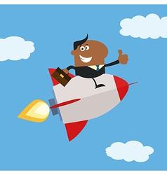 Businessman on a Sky Rocket Cartoon vector