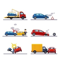 Car accidents set on white vector image