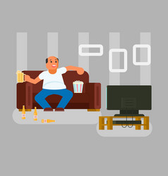 cartoon man watching tv flat vector image