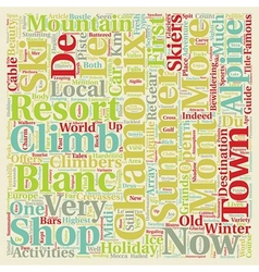 Chamonix Mont Blanc text background wordcloud vector