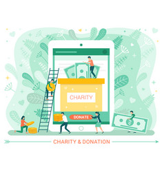 Charity donation web poster people donate money vector