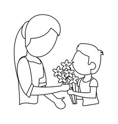 Child gift bouquet flowers mother outline vector