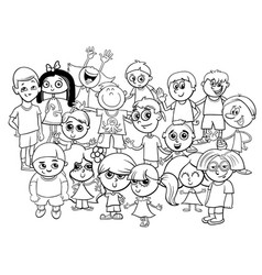 children characters group coloring book vector image