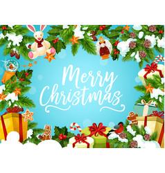 christmas greeting card with xmas tree gift frame vector image