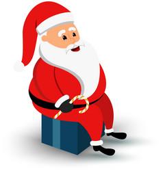 christmas smiling santa claus character sitting vector image