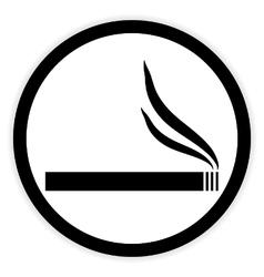 Cigarette button on white vector