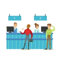 Client Service Counter With Bank Visitors And vector image