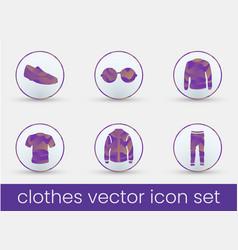 clothes icon set purple vector image