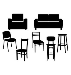 Collection black silhouette of chairs icon vector