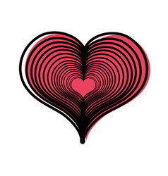 Color heart love with engraving design decoration vector