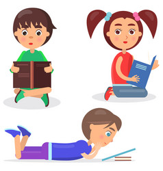 Concept of reading kids with favorite book flat vector