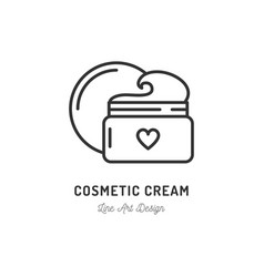 Cosmetic cream icon thin line art design vector