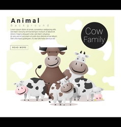 Cute animal family background with Cows vector