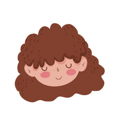 cute face little girl close eyes character vector image