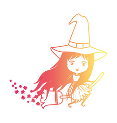 cute witch flying with broom and trace of stars in vector image