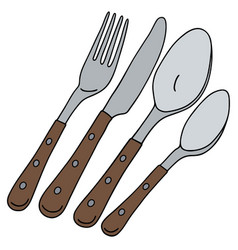 Cutlery with wooden handle vector