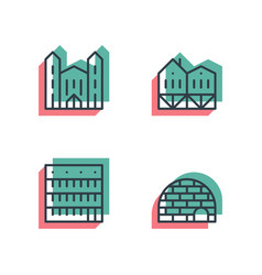 Different house buildings icon set anaglyph 3d vector