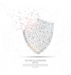 Digitally drawn shield low poly wire frame vector