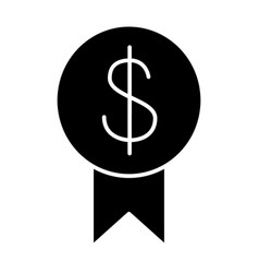 Dollar and ribbon solid icon money vector